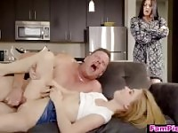 Horny step daughter seduces dad to get a creampie - fucked up family.