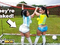 BANGBROS - Sexy Latina Pornstars With Big Asses Play Soccer And Get Fucked.