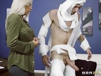 Rachel Roxxx has fun at the office costume party - Brazzers.