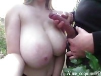 TittyFuck right next to the road, Cumshot on my F cup Boobs