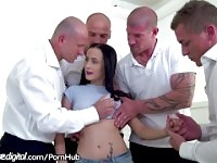 Bratty Daughter DP Gangbanged by Dad and All His Friends!.