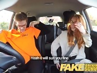 Fake Driving School Nerdy redhead teen student fucked to creampie orgasm.