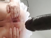 Sissy needs diapers after gaping ass with 12 inch black cock