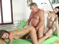 Grandpa at the doctor fucks hot young nurses in old young threesome porn.