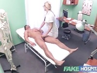 Fake Hospital Fit guy cums over hot blonde nurses tits after fucking her.