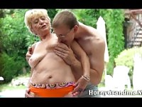 Old granny sucking cock.