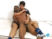 Tairon & Alexandro on Flirt4Free - Ebony Flexes Muscles as Latino Jerks BBC