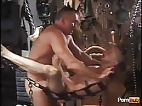 Hot lovers in the sex swing for real