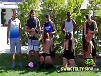 Horny swingers orgy party